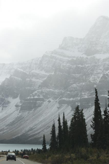 Bow Lake in light snow