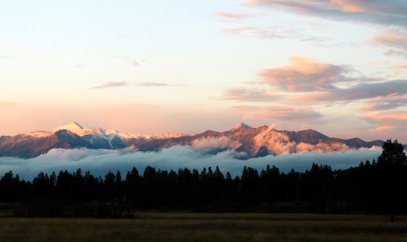setting sun on the Rockies