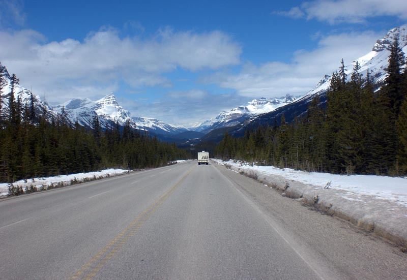 our motorhome on the Icefields Parkway in 2011