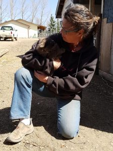 Jackie with one of their kitties, they are our Shelly and Penny's family!