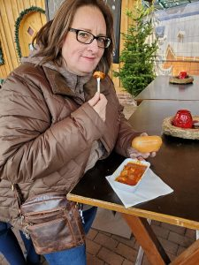 enjoying a currywurst at the Christmas Market at the CentrO in Oberhausen