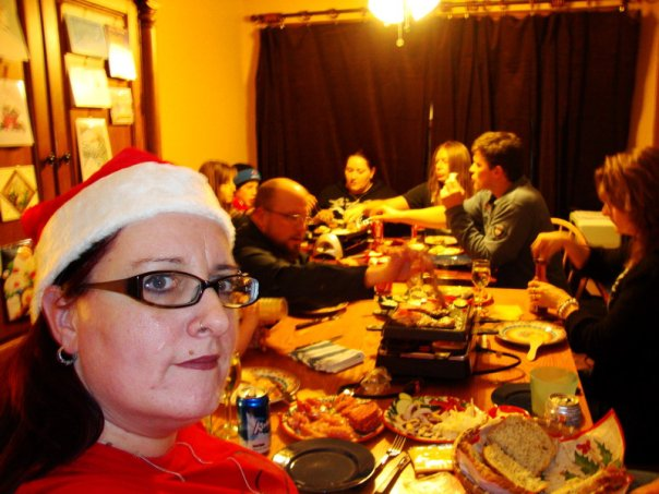 raclette dinner, gourmetten, a christmas tradition in Holland, here with Canadian friends in 2009